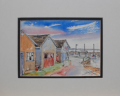 JCSREALART original 5x7 ink and watercolor painting-harbour and fishing boats