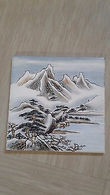 vintage painted Japanese painted ceramic tile Winter