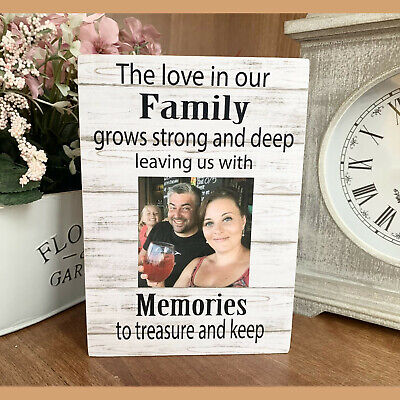 "Personalised Photo Block Wooden 6x4"" 7x5"" Picture Frame Family Memories Keepsake"