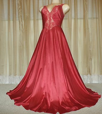 """Vintage Olga 183"""" Sweep Red Nylon Nightgown--Bust To 36"""""""