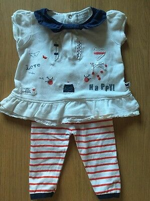 Babaluno Navy Red Bunny Top and Striped  Leggings 2 Piece Outfit 0-3 Months