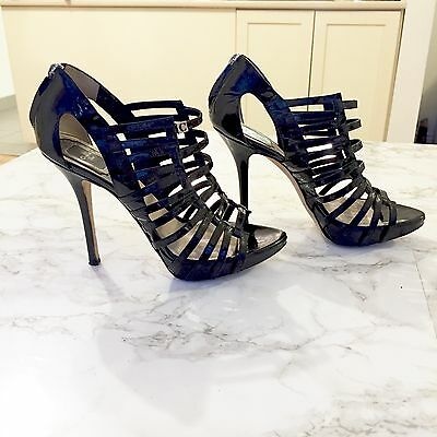 Dior Patent Leather Caged Sandal Stiletto Heels Black Sz 37.5