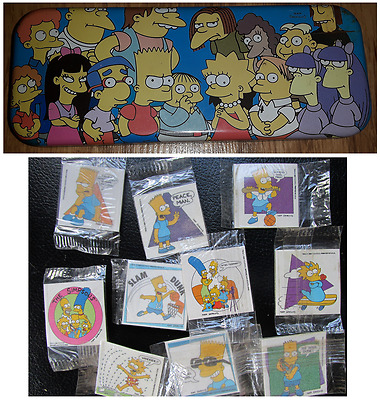 The Simpsons Collectors Tin (2002) & Hostess Chips Premium Transfers (1991)