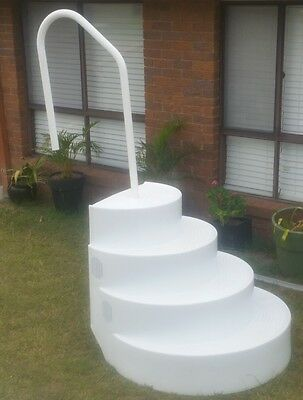 Wedding Cake Pool Steps with Handrail - White Classic Pools