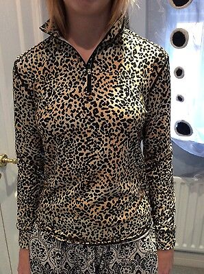 From US 'Hot Chillys' Womens Leopard print Base Layer Zip Top UK8-10 BRAND NEW