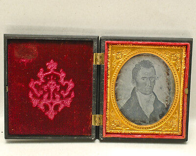 "Daguerreotype sixth Plate PORTRAIT of PAINTING ""MAN"" in Thermoplastic Union Case"