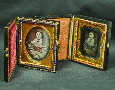 "Daguerreotype Ninth Plate image PORTRAITS of ""YOUNG WOMAN""  2 images same woman"