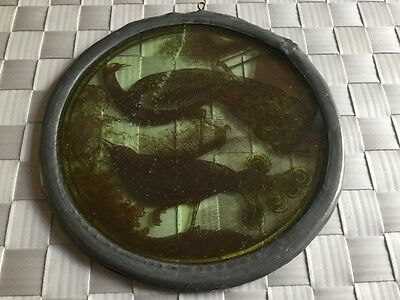 Handmade circular lead  glass depicting