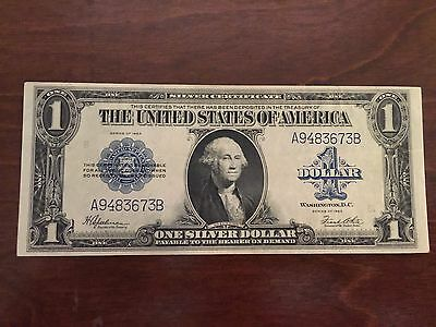 1923 $1 Silver Certificate Large Currency Note Bright Blue Seal A9483673B