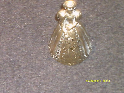 Vintage Brass Bell Crinoline Lady Dressed In Tudor Style Made In England Used