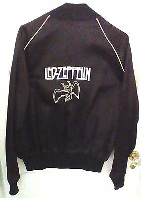 LED ZEPPELIN / 1984 SWAN SONG PROMO BLACK SATIN TOUR JACKET with WHITE PIPING/XL