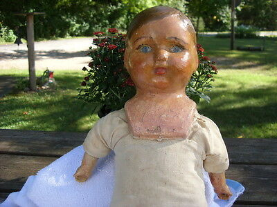 Antique Paper Mache Boy Doll With Cut Straw Body 20 Inches