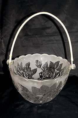 Glass Basket Laura Japan Large Dish w/Flowers