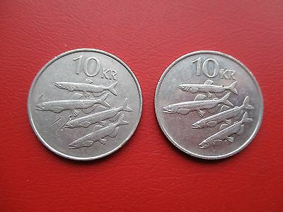Iceland 1984 and 1987 10 Kroner (ref 124)