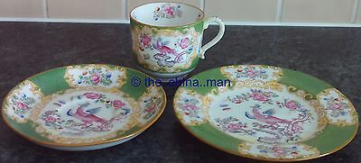 antique MINTON GREEN COCKATRICE pattern TEACUP SAUCER PLATE TRIO 3 available