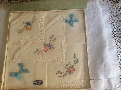 Beautiful Ladies NEW Three embroidered Handkerchiefs from the 50's