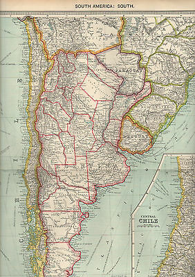 Large Original 1906 George Philp & Son Map of South America:South