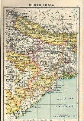 1895 Map of North India by John Bartholomew