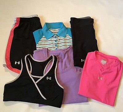 Women's S UNDER ARMOUR LOT OF ATHLETIC SHIRTS, SHORTS & SPORTS BRA