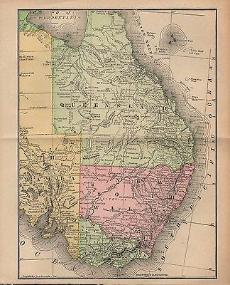 Original 1890 Rand McNally Map of Queensland and New South Wales (Australia)