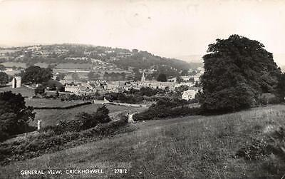 Vintage REAL PHOTO Postcard CRICKHOWELL General View Wales