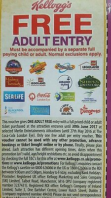 2 For 1 Free Adult Entry Voucher Merlin Attractions Kellogg's