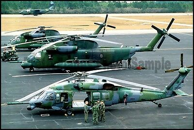 USAF MH-53 Pave Low & MH-60 Pave Hawk Helicopter Hurlburt Field 1987 8x12 Photo
