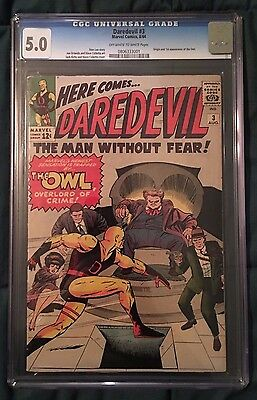 Daredevil #3 (1964) CGC 5.0 - OW to WHITE Pages - 1st Appearance of the Owl