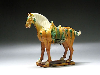 China Tang three-color Pottery Horse Statue yellow brown green white Glaze Horse
