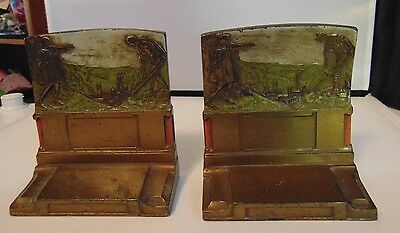 Antique Art & Crafts Pompeian Bronze The Pioneers Polychrome Painted Bookends