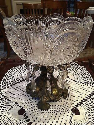 Antique West German Lead Crystal Bowl with Crystal / Glass Prisms