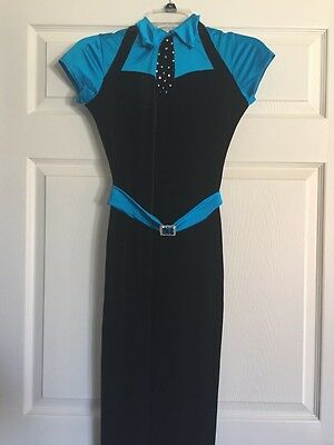 Black And Turquoise One Piece Velvet Dance Pants Suit Costume  Adult S