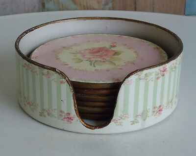 Pretty Shabby Chic Harlequin Colours Drink Coasters x 6 Original Case *Roses