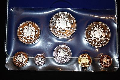 1973 Barbados, 8 Coin Proof Set (Silver 10 & 5 Dollar) (T897)