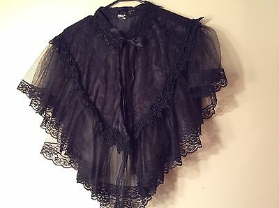 Elsie Massey Victorian Style Black Lace Mourning Capelet/Mantle