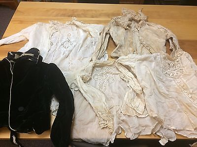 Group of 5 Victorian 19th C Ladies Shirt Lace Clothing