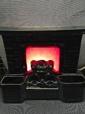 Fireplace TV Lamp MCM Planter Red Fiberglass Fire Nice For Cottage.