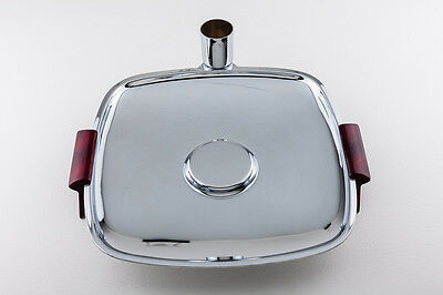 Glo-Hill MCM Vintage Chrome Serving Tray Red Bakelite Handles & Toothpick Holder