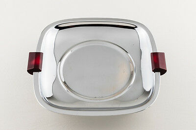 Glo-Hill Vintage MCM Chrome Serving Tray with Red Cherry Bakelite Handle & Legs