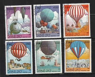 1983 Lao Stamps - set of 6 Hot Air Balloons CTO Set of 6 Sc# 469-474