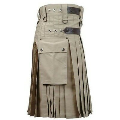Khaki Active Men New HANDMADE leather straps 100 % COTTON utility MEN kilt