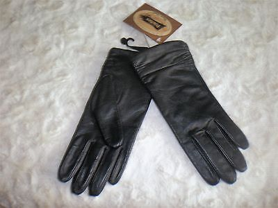 Womens Fownes Fleece Lined Black Leather Gloves Size XL NEW!