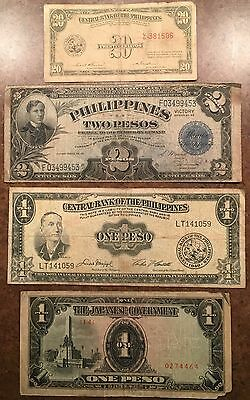3 - Philippines banknotes and one WWII Invasion Note