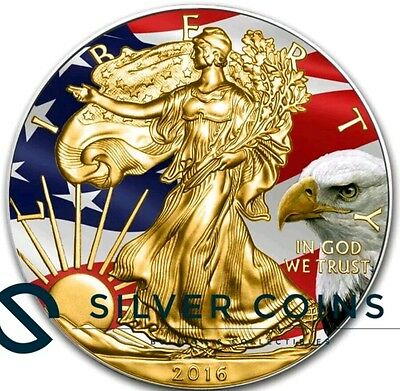 2016 1oz American Silver Eagle Coin Gold Gilded Colorized Flag Bald Eagle..