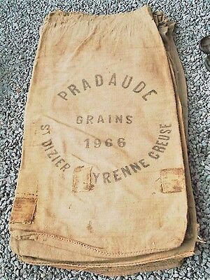 Rare French Vintage Grain Sacks from 1960s and 70s, Hemp Linen Hessian Material