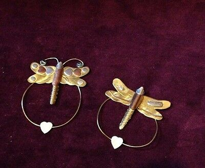 Set of 2 Metal Dragonfly Bookmarks with Hearts