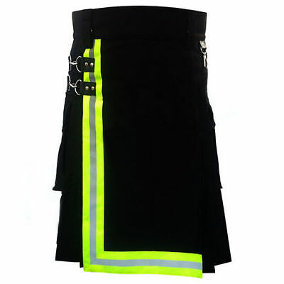 Firefighter Black Kilt Handmade for Men high visible reflector 100% Cotton