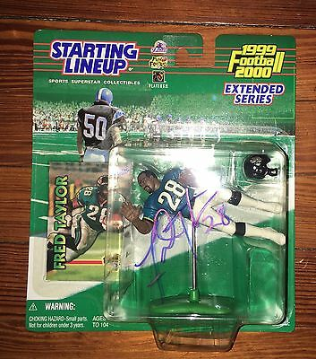 FRED TAYLOR signed JAGUARS STARTING LINEUP Figure COA 1999 2000 Extend Series UF