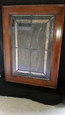 VTG Salvaged Leaded & Stained Glass Cabinet Door Solid Oak Wood Framed