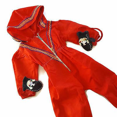 Vintage Chatty Cathy Clothes Snowsuit Red One Piece Mittens Hood Mattel 60s